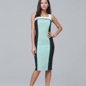 WHBM 6 Sleeveless Colorblock Sheath Dress